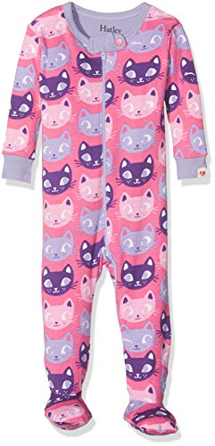 Hatley Baby-Mädchen 100% Organic Cotton Footed Sleepsuits Schlafstrampler, Pink (Silly Kitties), 6-9 Monate -
