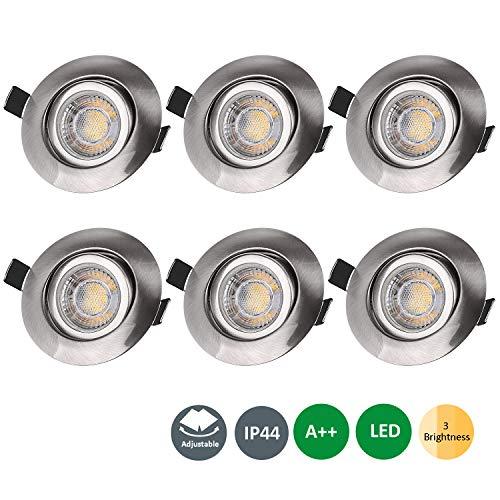 LED Einbaustrahler Ultra Flach 230V, 7W 6er Set IP44 Bad Deckenspot Deckenstrahler Schwenkbar Einbauleuchte Warmweiß mit 3 Helligkeitsstufe, Deckeneinbaustrahler Einbaustrahler Deckeneinbauleuchte