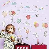 ملصقات حائط ذاتية اللصق بتصميم ارنب على شكل بالون مناسب لغرف الاطفال بجانب خزانة الثياب وغرف النوم وروضة الاطفال ولتزيين حوائ