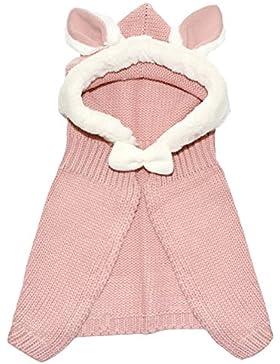 EOZY-Coniglio Mantello con Cappuccio Bambine Bimba Cappello Scialle Maglia Knit Giacca Inverno
