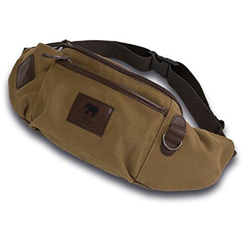 Zuverlässige Gürteltasche, Premium Hüfttasche, komfortable Reise-Bauchtasche Festivaltasche | sicherer Geldgürtel, feine Hundetasche Doggy Bag für Damen und Herren - XXL Chestnut Brown