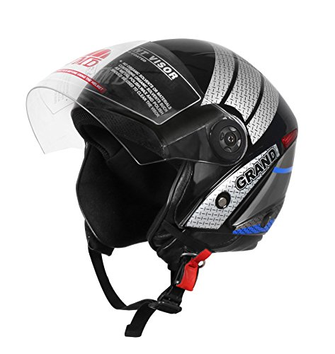 GRAND DECOR Black-Blue Glossy Finish Helmet (M)