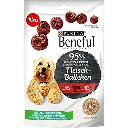 PURINA BENEFUL Hundeleckerli, Snack mit 95% Fleischanteil, Huhn oder Rind, 7er Pack (7 x 70g)