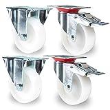 PRIOstahl TR-Set-21 Transportrollen 4 Stück | 2 X Lenkrolle mit Bremse/2 X Bockrollen | 100mm Kunststoff PP | Weiss | Möbelrollen | Apparaterollen