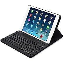 Sharon - Funda/Carcasa de aluminio con teclado Bluetooth incluido para iPad Air - QWERTY Inglés - Teclado fino - Función AutoSleep - (Se puede configurar en español)