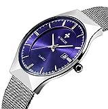 Genossen Armbanduhren Chronograph Uhr Edelstahl Uhrarmband Elegant (Blau)