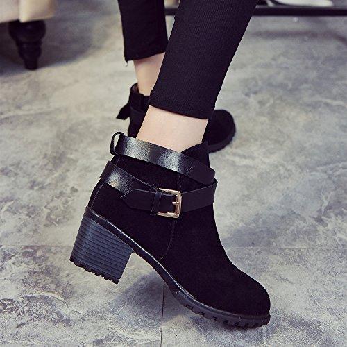 Covermason Hiver neige dames faible talon cheville ceinture boucle Martin bottes Chaussures femmes Noir
