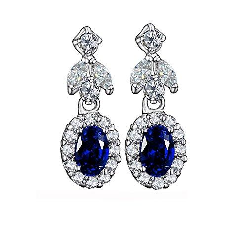 Produktbild Blau Saphir Edelstein Tropfenform Wasser Drop Schneeflocke Blume baumeln Hoop Ohrring für Frauen Mädchen Brautschmuck Jewelry