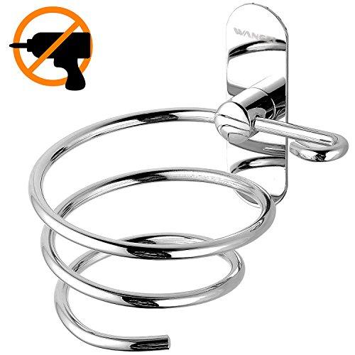 Wangel adesivo forte porta asciugacapelli, colla brevettata + autoadesivo, acciaio inossidabile, finitura lucida