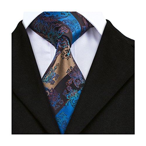 CAOFENVOO Herren Krawatte Blau Gelb