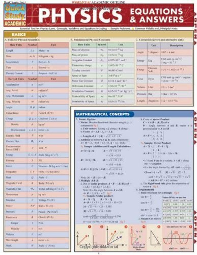 Physics Equations & Answers (Quick Study Academic) Lam Crds by Mark Jackson (2006) Pamphlet