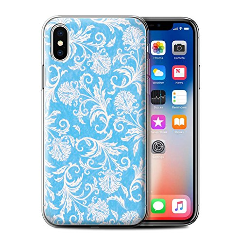 Stuff4 Gel TPU Hülle / Case für Apple iPhone X/10 / Lila Hintergrund Muster / Blumen Kollektion Blau Hintergrund
