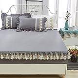 SL&CL Baumwoll-Bett Abdeckung,Einzelstück Verdicktes Gesteppte Schutzhülle Staubschutz 1.8m Reis Bett Dünne Braune Matratzenbezug-H 180x220cm(71x87inch)