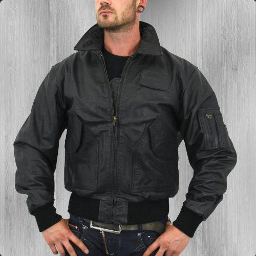 Alpha Industries Lederjacke CWU Leather black – schmal und kurz geschnitten - 2