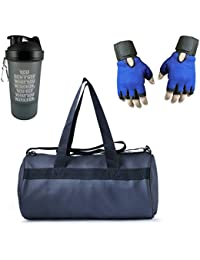 VELLORA Leather Soft Gym Bag (Black) With Sport Sipper Water Bottle And Blue Color Gloves