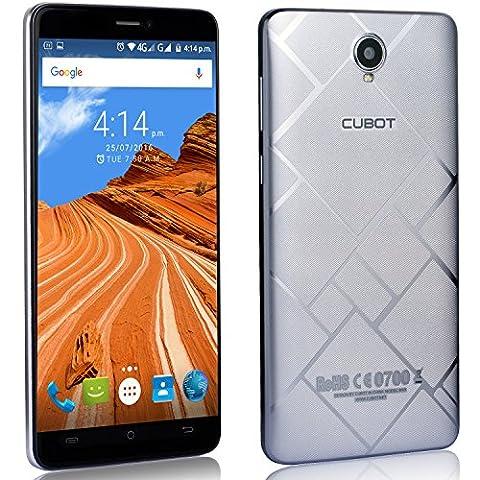 Cubot Max Smartphone ohne Vertrag 6 Zoll HD Touch-Display mit 4100 mAh Akku, 3GB Ram+32GB interner Speicher, Octa-Core Prozessor, Android 6.0, Dual-SIM, 4G LTE FDD, 5MP Frontkamera / 13MP Hauptkamera, IPS 2.5D gebogener Bildschirm Silber [ Cubot Offiziell ]