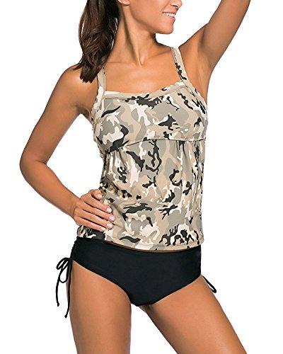 Traje De Baño Clásico De Dos Piezas Camuflaje De Talla Grande Bikinis Conjuntos Beachwear Ropa De Baño Para Mujer Glauco L
