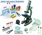EDU Toys Mikroskop Zoom 100x – 900x im Handkoffer Lernmikroskop mit extra Experimentierzubehörpaket und Schutzbrille