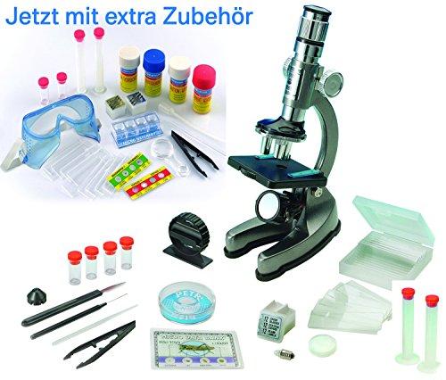 EDU Toys Mikroskop Zoom 100x – 900x im Handkoffer Lernmikroskop mit Extra...