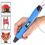 ccbetter® Intelligenter 3D Pen 3D Stift, 3D Druckstift, mit Sicherungshalter und Gratis PLA Filament, Geeignet für ABS / PLA Filament, Farbe blau mit schwarz (Version III)
