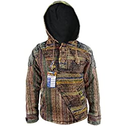 Little Kathmandu Hombres del algodón de la mitad GHERI Stonewashed Retro Funky Casual chaquetas sudadera con capucha multicolor multicolor Medium