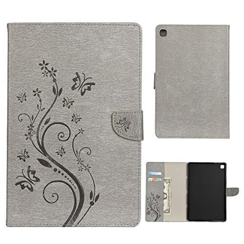 Dedux Hülle Samsung Galaxy Tab S5e 10.5 T720/T725 [Geprägte Relief Serien Retro geprägte Schmetterlings Blume Schutzhülle,Einschubfächer für Karten,Magnetische Verschluss.grau T720 Serie