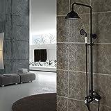 Cqq Duschset Schwarze Dusche Voller kupferner antiker Duschsatz Dusche Kann nach oben und unten gedreht werden Set Duschvorrichtung