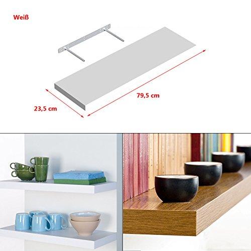 Wandregal Regal Wandboard Bücherregal Hängeregal frei schwebend MDF Holz Deko 795x235mm Weiß