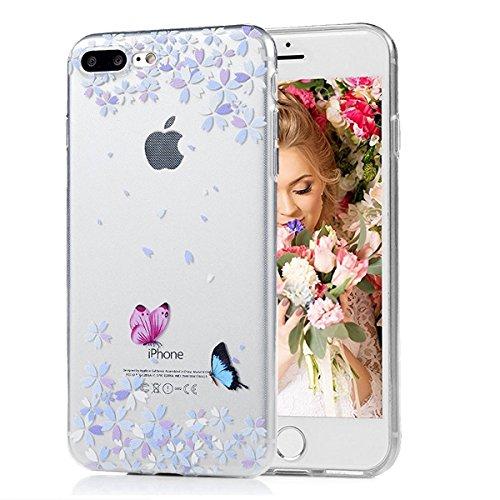 SMART LEGEND iPhone 7 Weiche Silikon Hülle Bumper Schutzhülle Transparent Hülle mit Muster Handyhülle Crystal Schutzhülle Kirstall Clear Etui Ultra Slim Durchsichtig Weich TPU Handytasche Soft Case Si Schmetterling