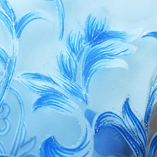 LCLrute Vorhang Hochwertige Voile Vorhang (waschbar) Blätter Sheer Vorhang Tüll Fenster Behandlung Voile Drape Valance 1 Panel Fabric (Blau) (Fabric Moda Panel)