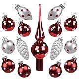 Art Beauty Weihnachtskugeln Mini Christbaumschmuck Glas 3cm Weihnachtsbaum Ornamente Ball mit Topper 15 Stück Tisch Herzstück Dekorationen für Hochzeitsfeier Bankett (Polka Dot)
