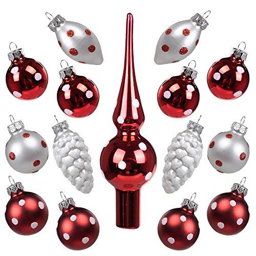 Art Beauty Weihnachtskugeln Mini Christbaumschmuck Glas 3cm Weihnachtsbaum Ornamente Ball mit Topper 15 Stück Tisch Herzstück Dekorationen für Hochzeitsfeier Bankett (Polka Dot) (Eiszapfen-glas-ornamente)
