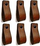 Lot de 6 poignées en cuir Cognac - Poignée en cuir pour armoires, cuisine et porte - Avec 3 vis colorées - poignée meuble cuir