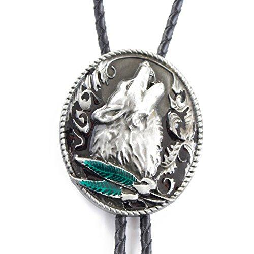 FYX Bolotie western klassik silber Krawatten Western Cowboy Wolf (5#)