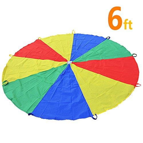 Spielen, Zelten, Kinder, Spiel, Spielen, Sonyabecca fallschirm-6' mit 9 Griffen Indoor&Outdoor(6-12 Kinder) …