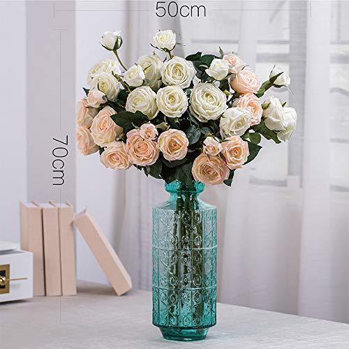 Powzz ornament Skulpturen Statuen Dekoartikel Amerikanische Feuchtigkeitsspendende Handfeel Simuliert Bouquet Dekorative Blumenarrangements, Madrid Vase Anzug (4 Weiße 5 Milchpulver) Madrid Vase