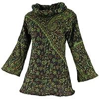Guru-Shop, Fluffy Tunic Boho Chic, Shawl Collar Tunic, Green, Synthetic, Size:M (12), Short Dresses