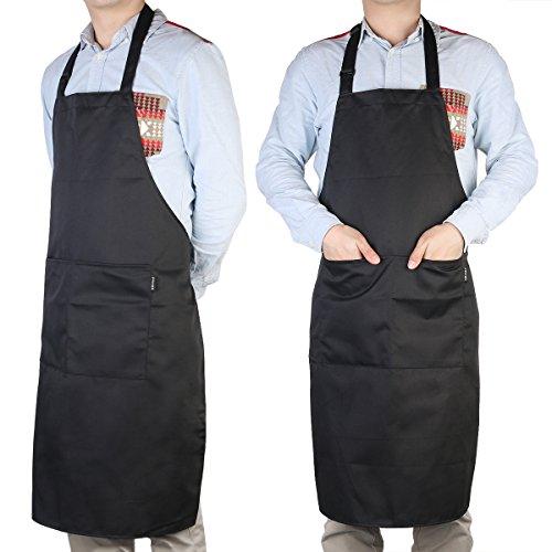 Männer Bib Schürzen (Pixnor BBQ Grillschürze Küchenschürze Mit Taschen Für Männer Schwarz)