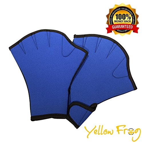 yellow-frog-swimming-gloves-webbed-finger-mitts-blue-black-great-for-resistance-training-swimming-tr
