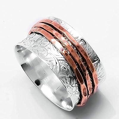 Bague de méditation Spinner Ring pour les femmes, bague en argent Sterling, anneau de souci pour les hommes, bague d'anxiété