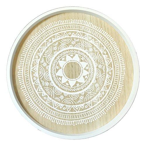 Designer Beistelltisch Couchtisch Dekotisch Weiß rund 3-beinig Tisch Holz im Shabby Look Ø 40cm + Höhe 45cm