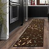 ottomanson Otto Home modernes Leaves Design Moderner Bereich Teppich mit non-skidrubber Unterstützung, Chocolate Brown Leaves, 20