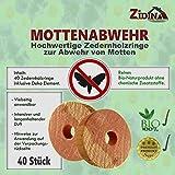 40x ZIDINA Premium BIO Mottenschutz für Kleiderschrank – Natürliche Zedernholz-Ringe im praktischen Stoffbeutel – Inkl. Deko-Element (chemiefreie Mottenfalle gegen Kleidermotten)