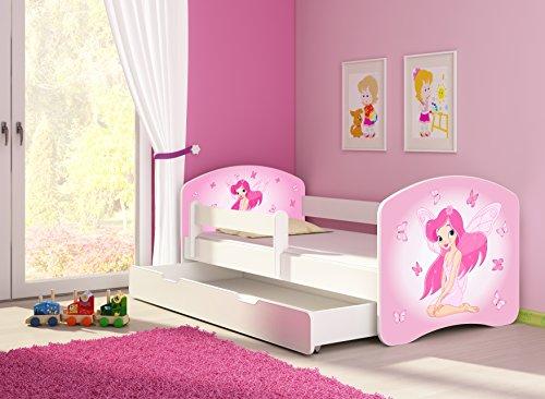 Clamaro \'Fantasia Weiß\' 160 x 80 Kinderbett Set inkl. Matratze, Lattenrost und mit Bettkasten Schublade, mit verstellbarem Rausfallschutz und Kantenschutzleisten, Design: 07 Pinke Fee