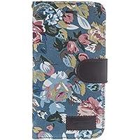 tinxi® Kunstleder Tasche für Apple iPhone 6 plus/6s plus 5.5 zoll Tasche Flipcase Schutzhülle Cover Schale Etui Skin Standfunktion mit Karten Slot Blumen in blau