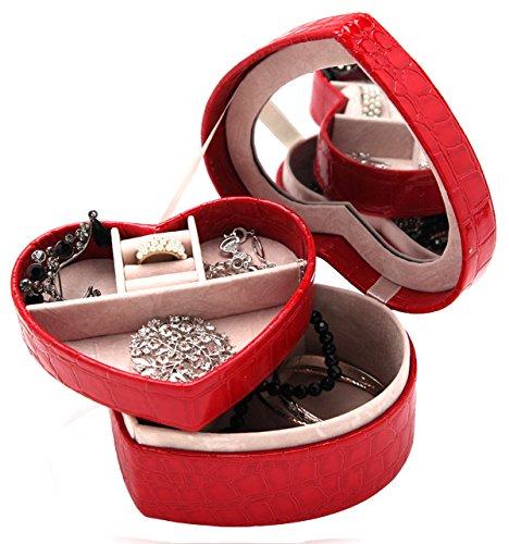 DCCN Schmuckkasten PU Leder Herzform Schmuckkoffer Schmuckschatulle Kosmetikkoffer Travel Jewelry Box Organizer Herzart mit Spiegel -Rot