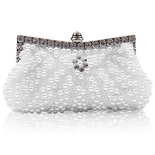 Jywmsc Damen Kupplung Tasche Elegant Perle Perlen Abendessen Party Tote Braut Hochzeit Abendhandtasche - Perlen-geldbörse Handtasche Tasche
