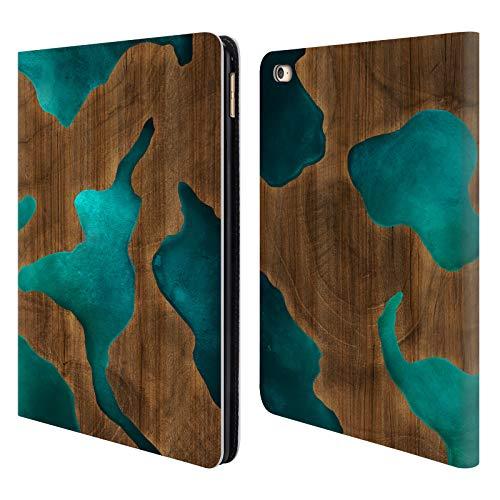 Head Case Designs Offizielle Alyn Spiller Aqua Holz Und Harz Brieftasche Handyhülle aus Leder für iPad Air 2 (2014) (Ipad 2 64 Air Cellular)