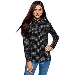 oodji Ultra Mujer Camisa Básica de Algodón, Negro, ES 44 / XL