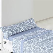 Burrito Blanco - Juego de Sábanas Coralina 946 para cama 90x190/200 cm, color azul